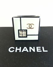 CHANEL Ring Logo CC Resin Black White Square Crystals Limited Edition 2008