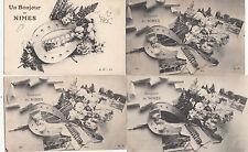 Lot de 4 cartes postales anciennes NIMES souvenir de nîmes fer à cheval
