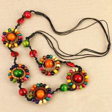 Gypsy Boho Daisy Chain Long Painted Wooden Bead Necklace Rainbow Peasant Style