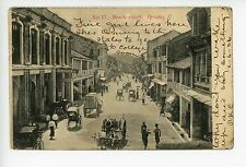 Penang—Beach Street—Antique POSTED TO USA from Steamship—Rickshaws 1906