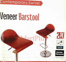 2 x Contemporary Swivel Wooden Veneer Bar stool High Quality Chrome Legs New