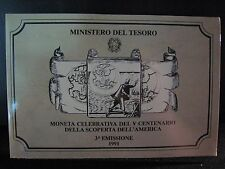 1991 Italy 500 Lire Discovery of America Silver in Holder** FREE U.S. SHIPPING**