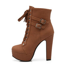 Women's High Heel Lace-up Shoes Synthetic Leather Platform Boots UK Sz 1~12 O003