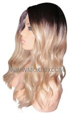 "Remy Human Hair Wig Full Lace 18"" Long Ash Blonde Brown 3 9 60 Roots Ombre Small"