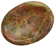 CARVED - UNAKITE Crystal Worry Stone with Description Card - Healing Reiki