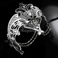 Luxury Filigree Metal Venetian Masquerade Mask for Women with Chains [Silver]