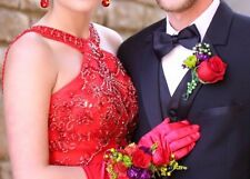 RED SHERRI HILL Beaded Embroidered Prom Pageant Ball Formal Halter Dress Gown 6