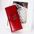 Women Leather Wallet Crocodile Long Clutch Trifold Purse Card Holder Wristlets