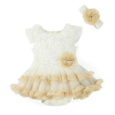 2pcs Newborn Infant Baby Girl Headband+Romper Bodysuit Flower Tutu Clothes 3-6M