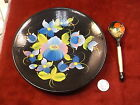 BEAUTIFUL OLDER VTG HAND PAINTED UKRAINIAN WOOD BOWL AND SPOON, DECOR SET, VGC