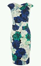 Karen millen floral print rose midi wiggle dress size UK 10 us 6 euro 38