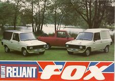 Reliant Fox 1984-86 UK Market Foldout Sales Brochure Pick Up Utility Hard Top
