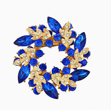 MULTICOLOR FLOWER BOUQUET BROOCH DIAMANTE CRYSTAL WEDDING PARTY PIN BROACH