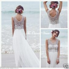 Anna Campbell Beach Wedding Dresses Sexy Luxury Crystal Beaded Boho Bridal Gowns