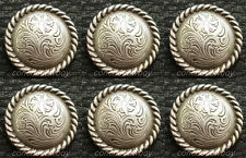 Set of 6 WESTERN HORSE TACK ANTIQUE ROPE EDGE CONCHOS 3/4 inch screw back concho