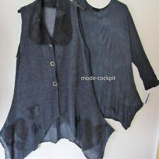 >> Sarah santos >> centímetro Long chaleco túnica lana punta Lagenlook azul XL 48-50