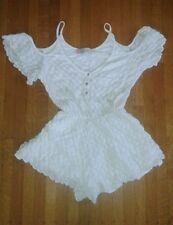 Free People Beach White Cotton Romper Short Sz XS