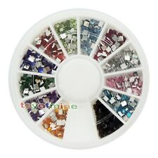 New Nail Art Decoration Manicure Wheel Square Rhinestones Glitters Acrylic Tips