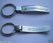 Genuine Scania Truck Streamline Logo Enamel Brushed Metal Keyring BNIP New