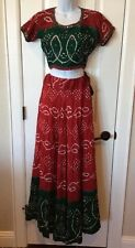 Hand Made Belly Dance Skirt Top Scarf Wrap Costume Cosplay Gypsy 3 Piece Outfit