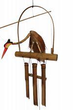 Windspiel Klangspiel mit Vogel aus Bambus und Kokosnuss - 3 Röhren - 60 cm Länge