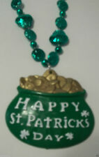 "Green Happy St Patrick's Day ""Pot Of Gold"" Mardi Gras Bead Necklace Shamrock"