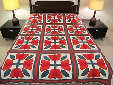 GRAPHIC Striking Look Vintage Hand Sewn All Cotton FOUR TULIPS Applique QUILT