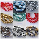 100pcs Glass Crystal Faceted Rondelle Findings Loose Spacer Beads 6X8mm 60 Color