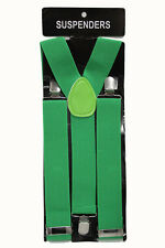 Thick Green Adjustable Suspenders Braces Mens Women Fancy Dress Clip On Slim 2.5