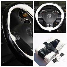 White + Carbon Fiber Pattern PVC Leather Steering Wheel Cover DIY Stitch Wrap