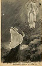 RELIGION CATHOLIQUE CARTE POSTALE LA VIE DE BERNADETTE TIMBRES DE 1924
