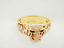 Fashion Inspired Gold Plated Metal Tiger Shaped Rhinestone Bangle Bracelets