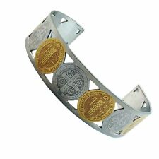 Stainless Steel Gold 2-Tone San Benito St. Benedict Cuff Bangle Bracelet