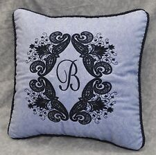 Personalized Embroidered Pillow made w Ralph Lauren Putney Paisley Blue Fabric