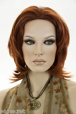 Fox Red (Clear Cool Vivid Red) Red Medium Short Skin Top Wavy Straight Wigs