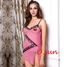 Women Pink Mini Dress T-Back Sexy Lingerie Silk Feel BabyDoll Underwear SIZE6-12