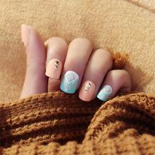 24pcs Short Fake Nails Art Tips Acrylic Nail False French Artificial Full Nail