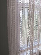 "Vtg Antique Window Pane Net Lace Curtain Panels 1 Pair  37"" x 70"""
