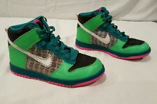 Nike Dunk High 6.0 09' Sneakers Hipster Athletic Multi Green Checks Size 6 Skate