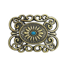 Vintage Gold Brass Womens Turquoise Belt Buckle FREE GIFT BOX NEW