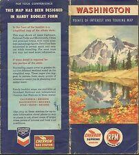 1952 CHEVRON Road Map WASHINGTON Mount Shuksan Seattle Tacoma Spokane Rainier