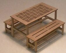 1:12th MDF Wooden Flat Pack Table & Benches Dolls House Garden Natural Accessory