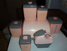 VINTAGE RETRO PINK GRAY 4 PC CANISTER SET BREAD BOX COOKIE JAR PITCHER