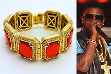 MENS ICED OUT HIP HOP RAPPERS STYLE YELLOW GOLD FINISH RED RUBY BRACELET GOLD