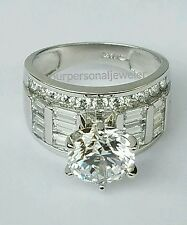 5 CT  big wide 14k White Gold round baguette Man Made Diamond Engagement Ring 7