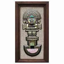 Framed Inca Panel Wall Art Bronze w/ Inlaid Gemstones 'Tumi Deity' NOVICA Peru