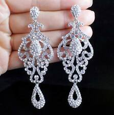 PAGEANT AUSTRIAN CRYSTAL RHINESTONE SILVER CHANDELIER DANGLE EARRINGS PROM E2090