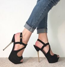TOPSHOP Black Suede Peep Toe Platform Strappy Stiletto High Heels Size 6 / 39