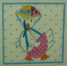 Needlepoint Canvas HP Mother Duck Bonnet Pink Dot Skirt Flowers Magic Needle