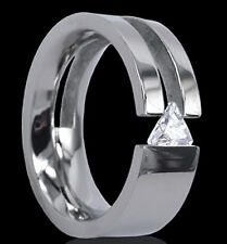 Titanium Tension Wide Ring with Triangle Cut CZ, size 10 - in Gift Box!